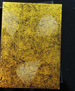 Hộp sơn mài chữ nhật (Vàng, họa tiết lá)